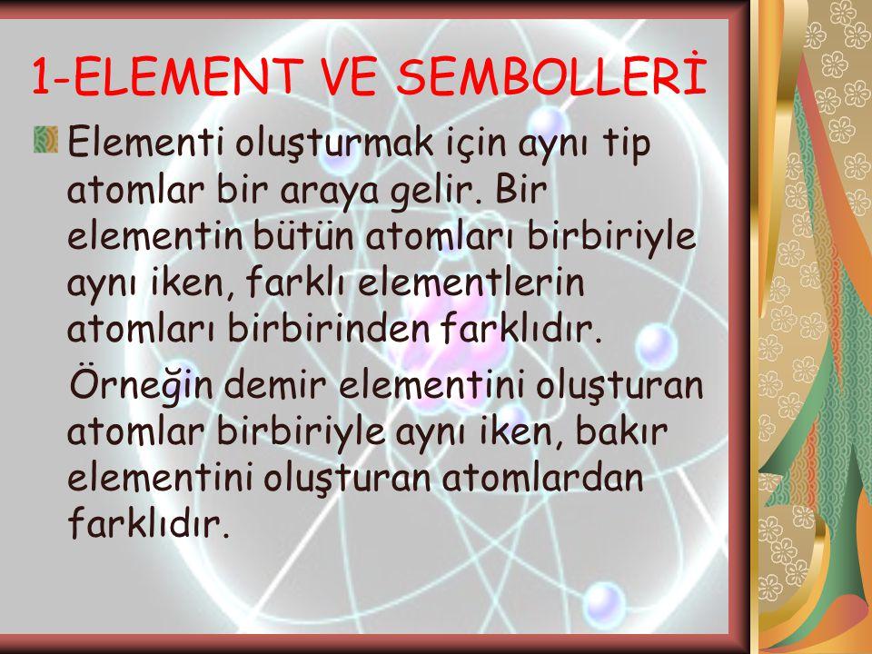 1-ELEMENT VE SEMBOLLERİ Elementi oluşturmak için aynı tip atomlar bir araya gelir. Bir elementin bütün atomları birbiriyle aynı iken, farklı elementle