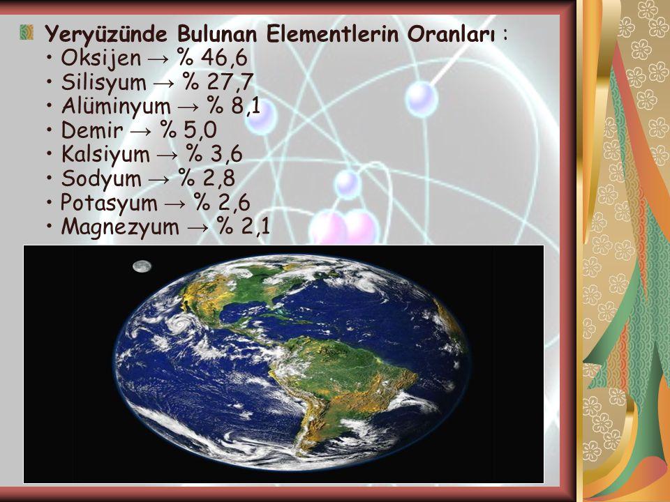 Yeryüzünde Bulunan Elementlerin Oranları : • Oksijen → % 46,6 • Silisyum → % 27,7 • Alüminyum → % 8,1 • Demir → % 5,0 • Kalsiyum → % 3,6 • Sodyum → %