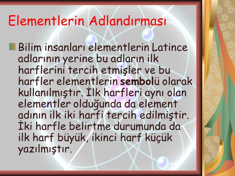 Elementlerin Adlandırması Bilim insanları elementlerin Latince adlarının yerine bu adların ilk harflerini tercih etmişler ve bu harfler elementlerin s