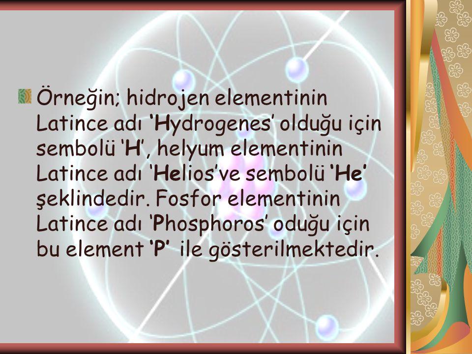 Örneğin; hidrojen elementinin Latince adı 'Hydrogenes' olduğu için sembolü 'H', helyum elementinin Latince adı 'Helios've sembolü 'He' şeklindedir. Fo