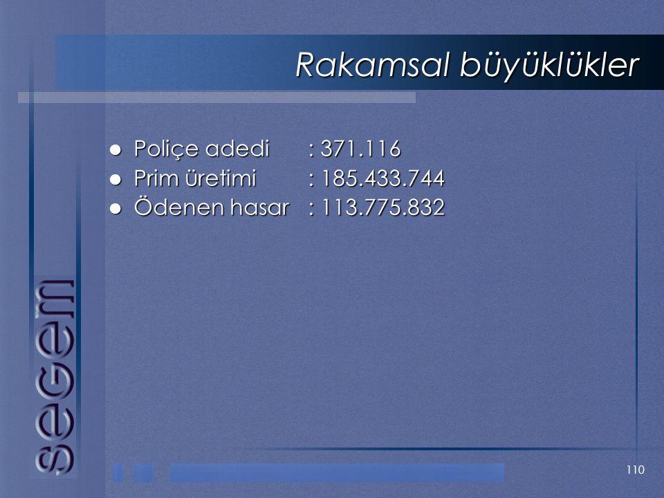 110 Rakamsal büyüklükler  Poliçe adedi: 371.116  Prim üretimi: 185.433.744  Ödenen hasar: 113.775.832