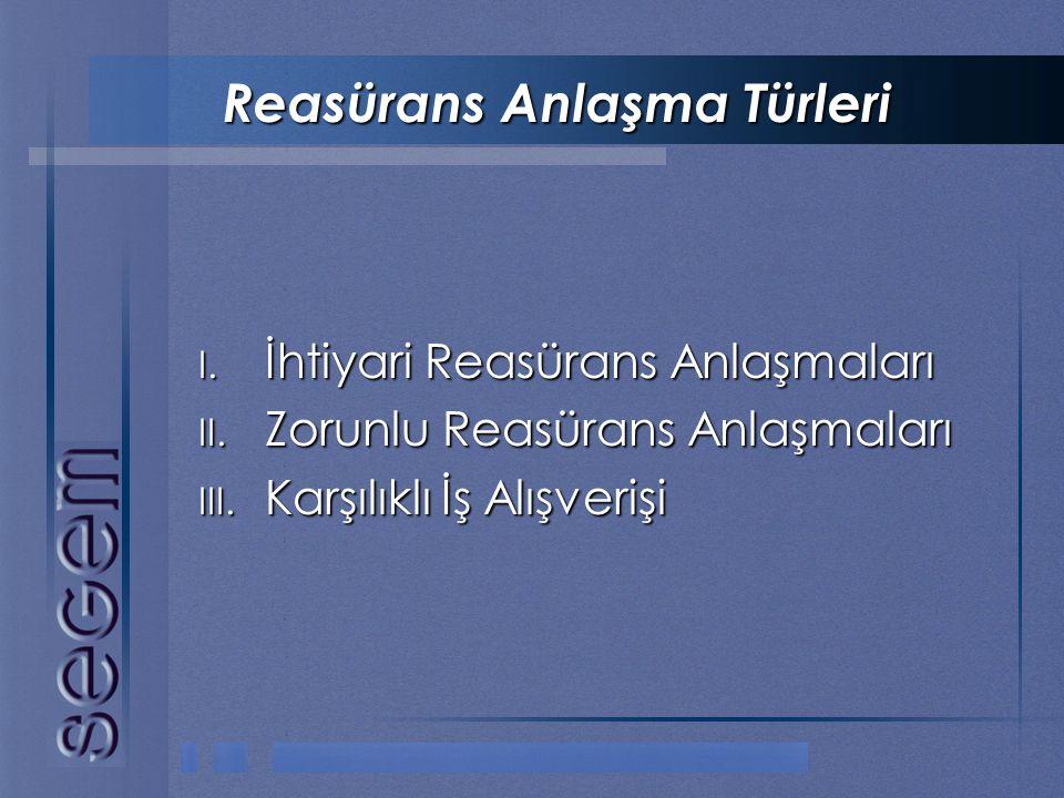 Reasürans Anlaşma Türleri I. İhtiyari Reasürans Anlaşmaları II. Zorunlu Reasürans Anlaşmaları III. Karşılıklı İş Alışverişi