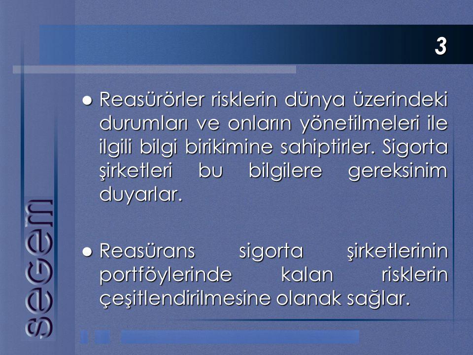 3  Reasürörler risklerin dünya üzerindeki durumları ve onların yönetilmeleri ile ilgili bilgi birikimine sahiptirler. Sigorta şirketleri bu bilgilere