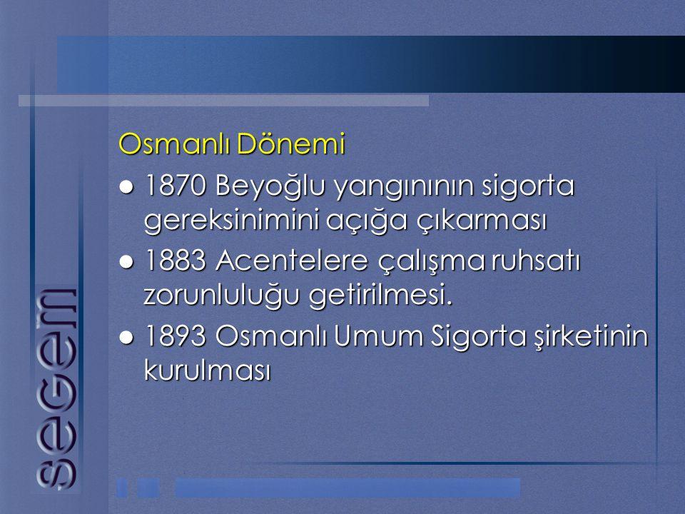 Osmanlı Dönemi  1870 Beyoğlu yangınının sigorta gereksinimini açığa çıkarması  1883 Acentelere çalışma ruhsatı zorunluluğu getirilmesi.  1893 Osman