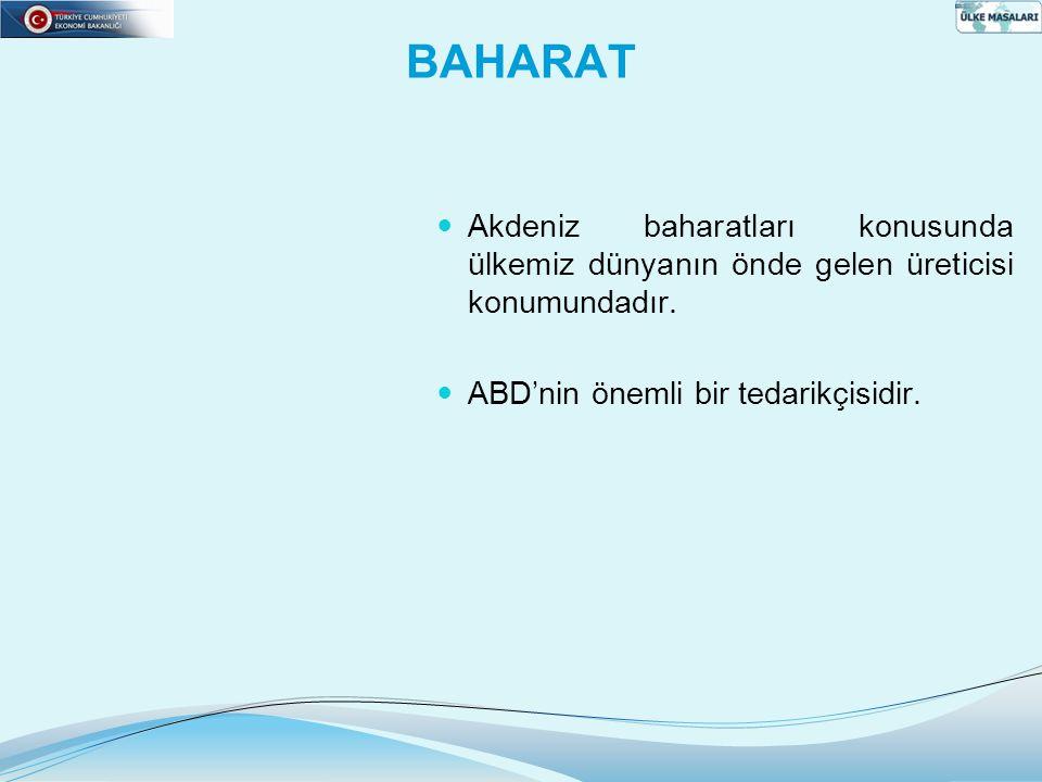 BAHARAT  Akdeniz baharatları konusunda ülkemiz dünyanın önde gelen üreticisi konumundadır.  ABD'nin önemli bir tedarikçisidir.