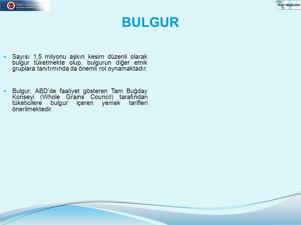BULGUR  Sayısı 1,5 milyonu aşkın kesim düzenli olarak bulgur tüketmekte olup, bulgurun diğer etnik gruplara tanıtımında da önemli rol oynamaktadır. 