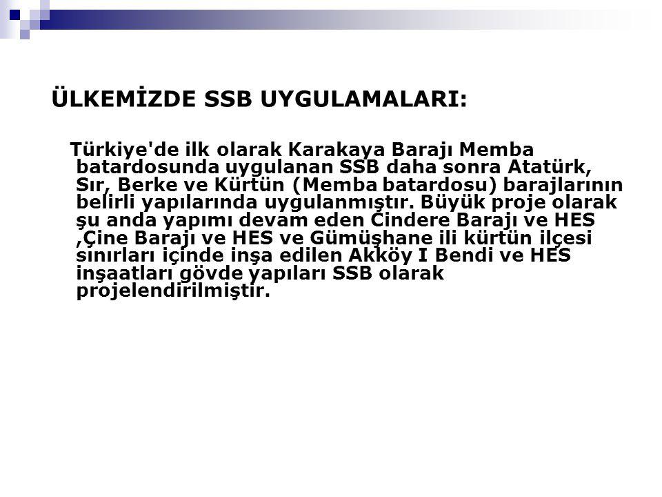 ÜLKEMİZDE SSB UYGULAMALARI: Türkiye'de ilk olarak Karakaya Barajı Memba batardosunda uygulanan SSB daha sonra Atatürk, Sır, Berke ve Kürtün (Memba bat