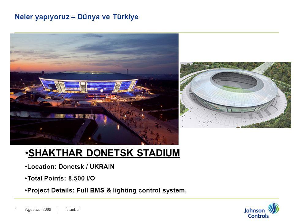 Ağustos 2009 | İstanbul4 •SHAKTHAR DONETSK STADIUM OTEL •Location: Donetsk / UKRAIN •Total Points: 8.500 I/O •Project Details: Full BMS & lighting con