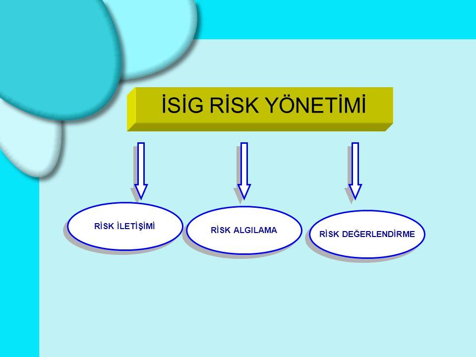 Büyük Endüstriyel Kazaların Önlenmesi Council Directive 96/82/EC (SEVESO II) ILO, (1990) Uygulama Kodu- Büyük Endüstriyel Kazaların Önlenmesi ILO-OSH 2001 İSİG Yönetim Sistemleri ISO 17776:2000(E) Petrol ve Doğalgaz endüstrilerinde Tehlikenin Tanınması ve Risk Değerlendirme ISO 9000 –9001 (2000) Kalite Yönetim Sistemleri ISO 14000 Çevre Yönetimi TS 18001 (OHSAS-18001) TS 18002 (OHSAS 18002) İş Sağlığı ve Güvenliği Yönetim Sistemleri ve Uygulama Kılavuzu TS EN 1050 Makinalarda Güvenlik-Risk Değerlendirmesi TS EN 292-1-2 Makinalarda Güvenlik TS EN 1441 Tıbbı Cihazlar-Risk Analizi TS IEC 60300 Güvenebilirlik Yönetimi TS 13001(HACCP) TS IEC 62198 Proje Risk Yönetimi INSTITUTE OF ELECTRICAL AND ELECTRONIC ENGINEERS IEEE Standard 1074 - IEEE standard 1058 AS/NZS 4360 (1999) Risk Management AS/NZS 4804:2001, İş Sağlığı ve Güvenliği Yönetim Sistemleri Queensland Rail Standard STD/0007/WHS: Güvenlik Risk Yönetimi, U.S.