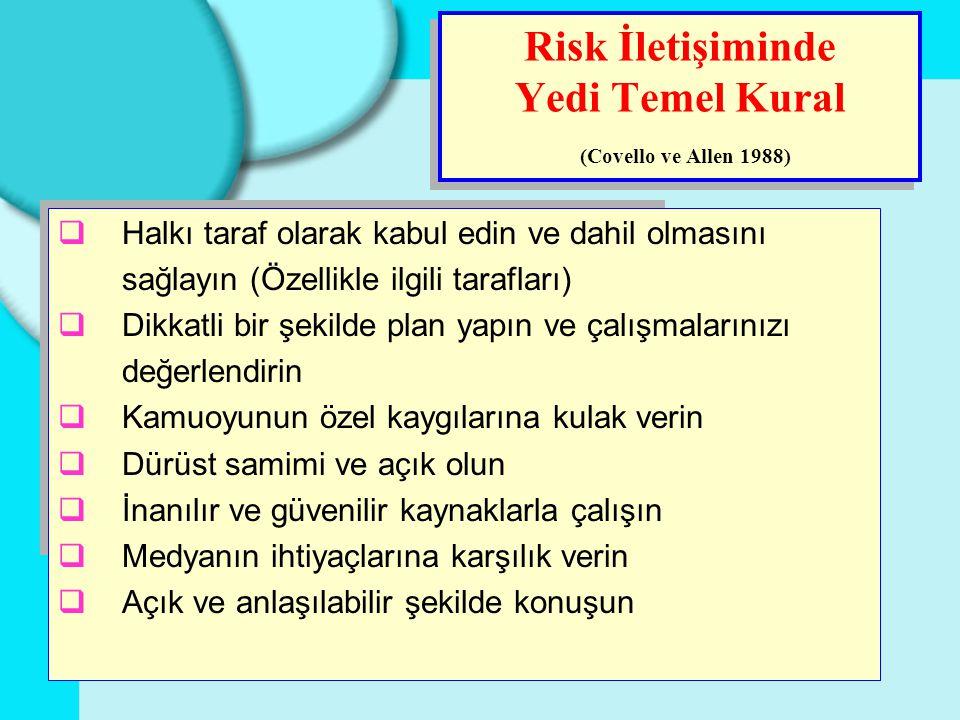Risk İletişiminde Yedi Temel Kural (Covello ve Allen 1988)  Halkı taraf olarak kabul edin ve dahil olmasını sağlayın (Özellikle ilgili tarafları)  D