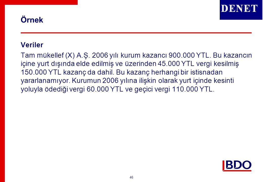 46 Örnek Veriler Tam mükellef (X) A.Ş. 2006 yılı kurum kazancı 900.000 YTL. Bu kazancın içine yurt dışında elde edilmiş ve üzerinden 45.000 YTL vergi