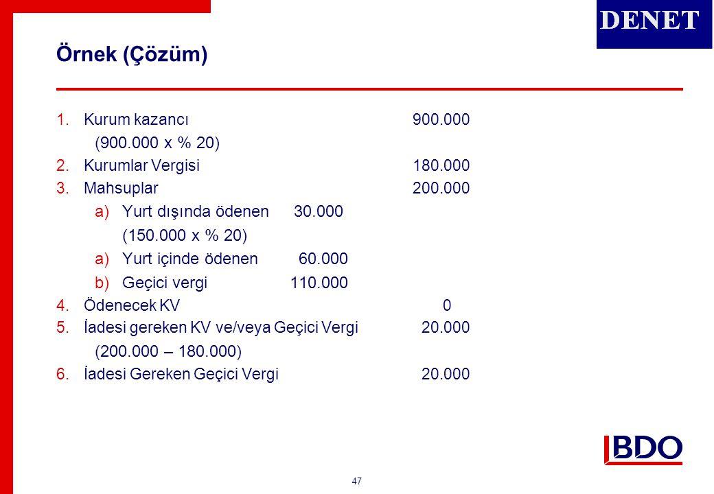 47 Örnek (Çözüm) 1.Kurum kazancı900.000 (900.000 x % 20) 2.Kurumlar Vergisi180.000 3.Mahsuplar200.000 a)Yurt dışında ödenen 30.000 (150.000 x % 20) a)