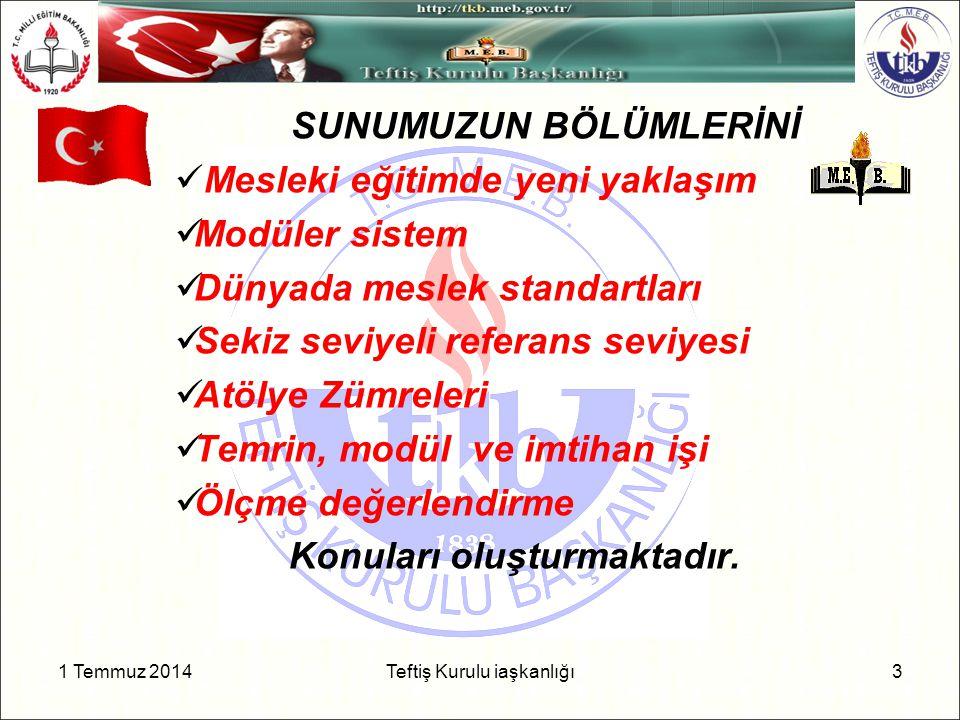 1 Temmuz 2014 4 Teftiş Kurulu Başkanlığı GENEL AMAÇ Türkiye'deki mesleki ve teknik eğitim sistemini sosyo-ekonomik gereksinimleri yaşam boyu öğrenme ilkeleri doğrultusunda bütünlüklü olarak güçlendirmek ÖZEL AMAÇ Mesleki eğitimin ulusal gereksinimlerle ilişkisinin ve niteliğinin iyileştirilmesine katkı sağlamak Mesleki eğitimle ilgili kamu yönetiminin, toplumsal ortakların ve işletmelerin kurumsal kapasitelerini ulusal, bölgesel ve yerel düzeyde güçlendirmek Mesleki eğitim sisteminin yerinden yönetime geçme sürecini hızlandırm