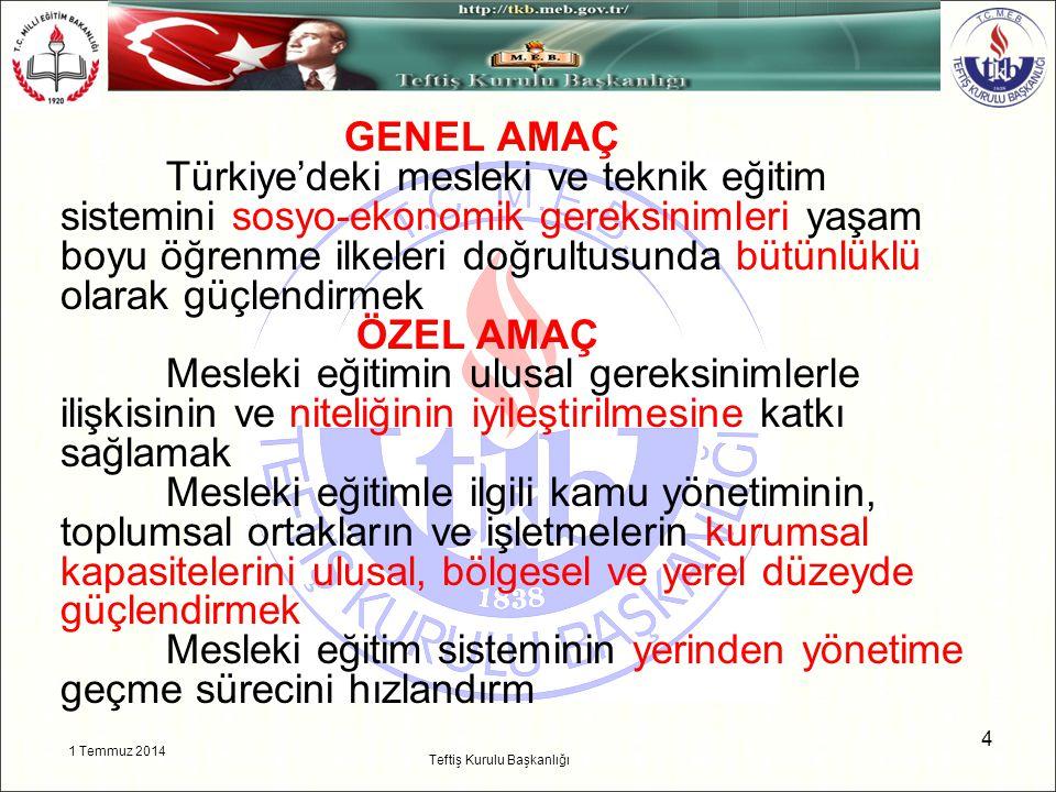 1 Temmuz 2014 4 Teftiş Kurulu Başkanlığı GENEL AMAÇ Türkiye'deki mesleki ve teknik eğitim sistemini sosyo-ekonomik gereksinimleri yaşam boyu öğrenme i
