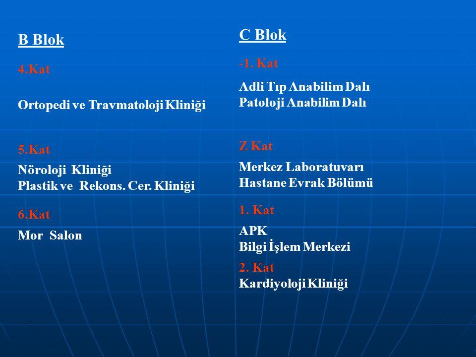 B Blok 4.Kat Ortopedi ve Travmatoloji Kliniği 5.Kat Nöroloji Kliniği Plastik ve Rekons. Cer. Kliniği 6.Kat Mor Salon C Blok -1. Kat Adli Tıp Anabilim