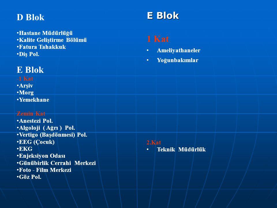 D Blok •Hastane Müdürlüğü •Kalite Geliştirme Bölümü •Fatura Tahakkuk •Diş Pol. E Blok -1 Kat •Arşiv •Morg •Yemekhane Zemin Kat •Anestezi Pol. •Algoloj