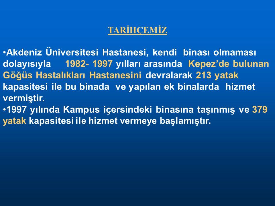 TARİHÇEMİZ •Akdeniz Üniversitesi Hastanesi, kendi binası olmaması dolayısıyla 1982- 1997 yılları arasında Kepez'de bulunan Göğüs Hastalıkları Hastanes