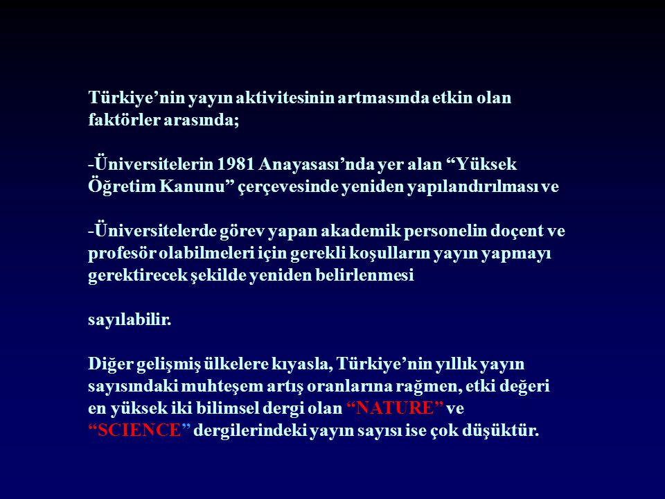 Türkiye'nin yayın aktivitesinin artmasında etkin olan faktörler arasında; -Üniversitelerin 1981 Anayasası'nda yer alan Yüksek Öğretim Kanunu çerçevesinde yeniden yapılandırılması ve -Üniversitelerde görev yapan akademik personelin doçent ve profesör olabilmeleri için gerekli koşulların yayın yapmayı gerektirecek şekilde yeniden belirlenmesi sayılabilir.
