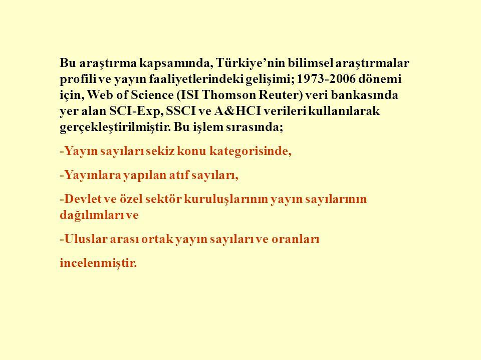 Bu araştırma kapsamında, Türkiye'nin bilimsel araştırmalar profili ve yayın faaliyetlerindeki gelişimi; 1973-2006 dönemi için, Web of Science (ISI Thomson Reuter) veri bankasında yer alan SCI-Exp, SSCI ve A&HCI verileri kullanılarak gerçekleştirilmiştir.