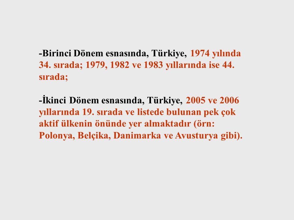 -Birinci Dönem esnasında, Türkiye, 1974 yılında 34.