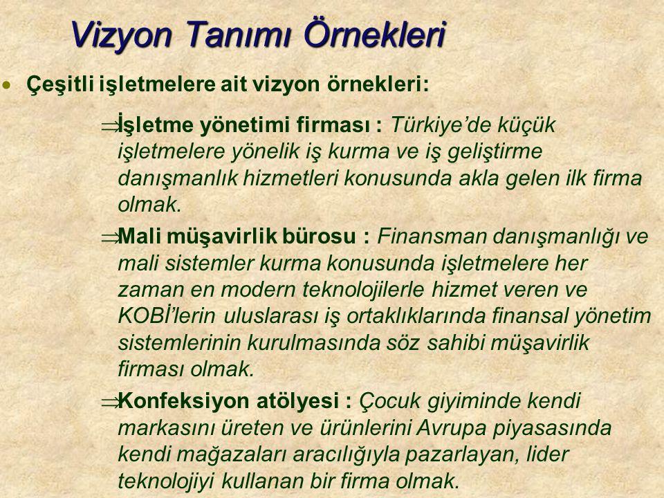 Vizyon Tanımı Örnekleri  Çeşitli işletmelere ait vizyon örnekleri:  İşletme yönetimi firması : Türkiye'de küçük işletmelere yönelik iş kurma ve iş geliştirme danışmanlık hizmetleri konusunda akla gelen ilk firma olmak.