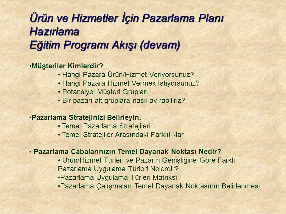 Ürün ve Hizmetler İçin Pazarlama Planı Hazırlama Eğitim Programı Akışı (devam) •Müşteriler Kimlerdir.