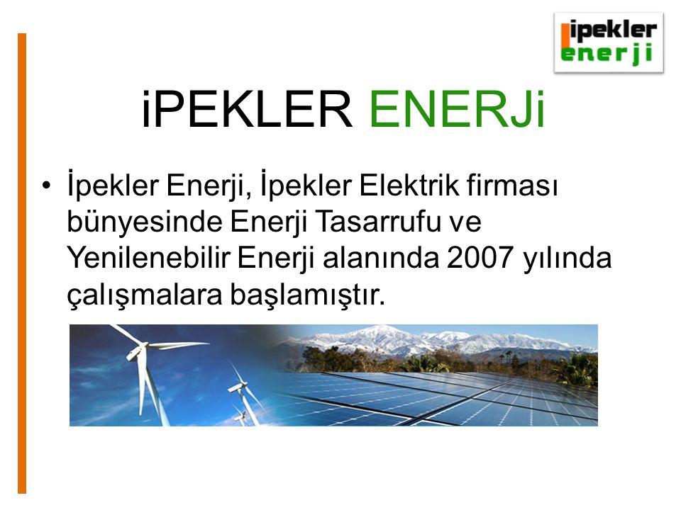 iPEKLER ENERJi •İpekler Enerji, İpekler Elektrik firması bünyesinde Enerji Tasarrufu ve Yenilenebilir Enerji alanında 2007 yılında çalışmalara başlamıştır.