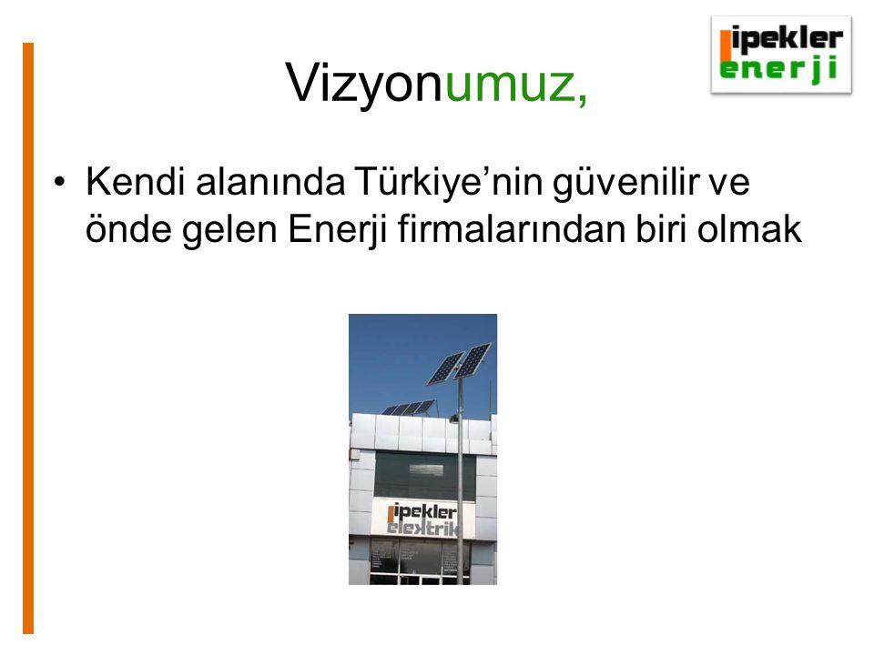 Vizyonumuz, •Kendi alanında Türkiye'nin güvenilir ve önde gelen Enerji firmalarından biri olmak