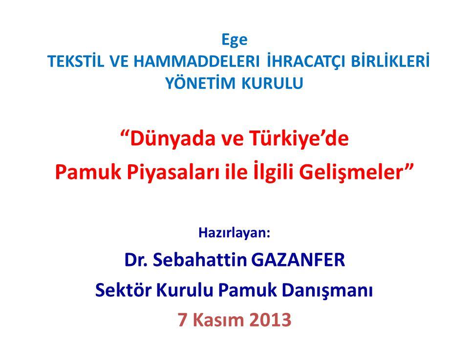 """Ege TEKSTİL VE HAMMADDELERI İHRACATÇI BİRLİKLERİ YÖNETİM KURULU """"Dünyada ve Türkiye'de Pamuk Piyasaları ile İlgili Gelişmeler"""" Hazırlayan: Dr. Sebahat"""