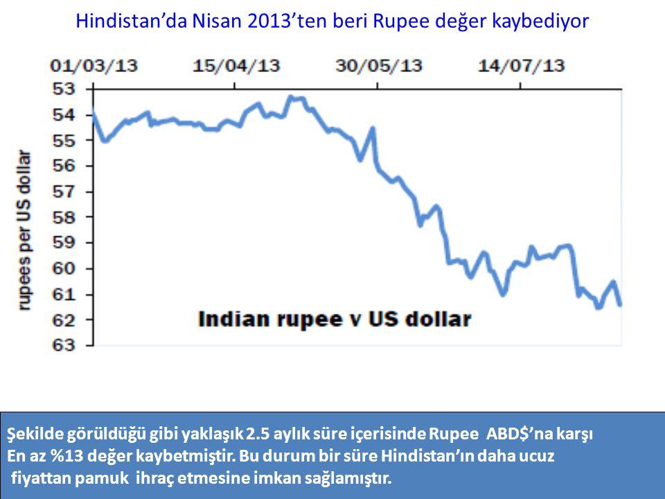 Hindistan'da Nisan 2013'ten beri Rupee değer kaybediyor Şekilde görüldüğü gibi yaklaşık 2.5 aylık süre içerisinde Rupee ABD$'na karşı En az %13 değer