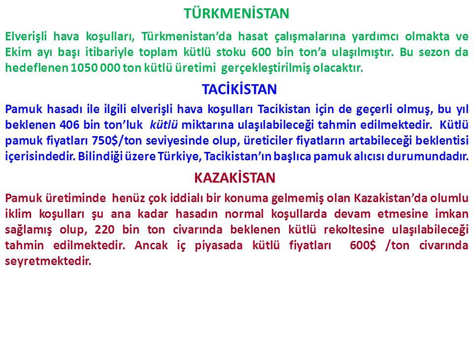 TÜRKMENİSTAN Elverişli hava koşulları, Türkmenistan'da hasat çalışmalarına yardımcı olmakta ve Ekim ayı başı itibariyle toplam kütlü stoku 600 bin ton
