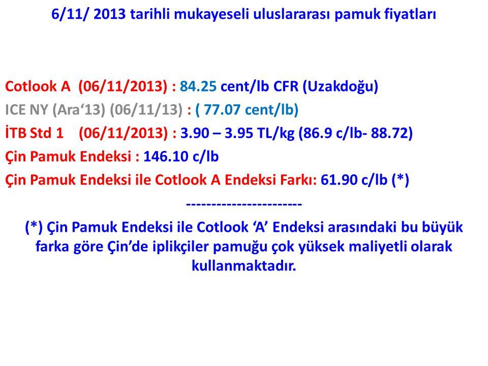 6/11/ 2013 tarihli mukayeseli uluslararası pamuk fiyatları Cotlook A (06/11/2013) : 84.25 cent/lb CFR (Uzakdoğu) ICE NY (Ara'13) (06/11/13) : ( 77.07