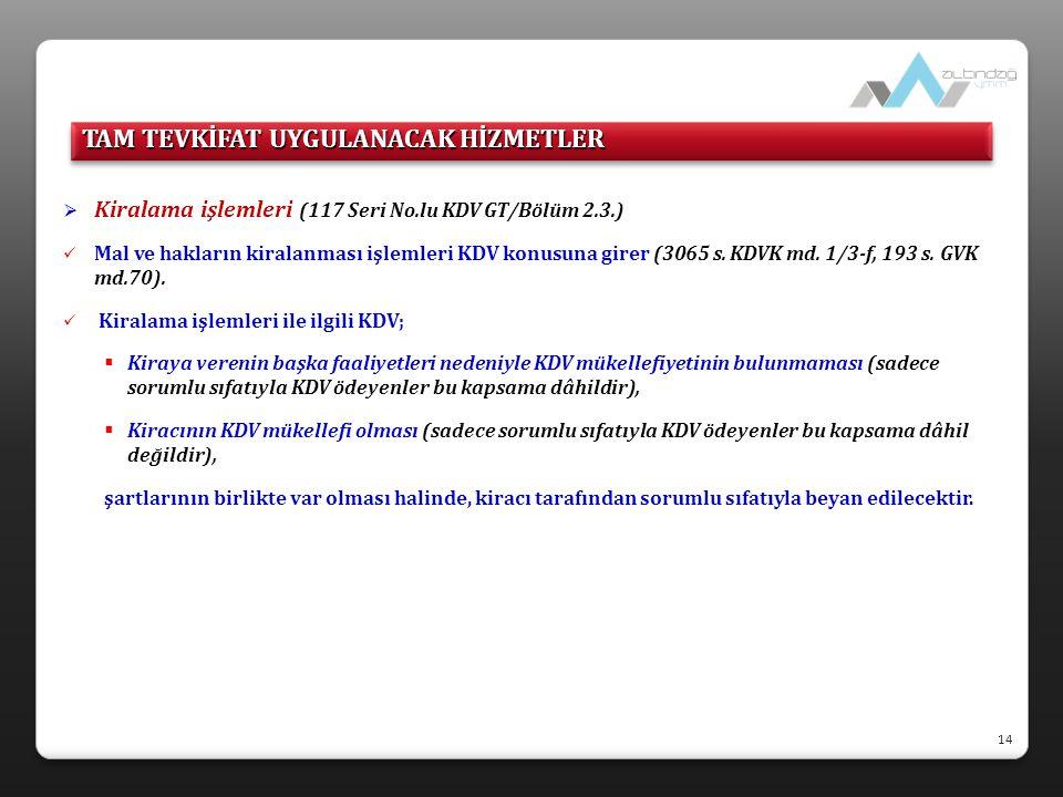  Kiralama işlemleri (117 Seri No.lu KDV GT/Bölüm 2.3.)  Mal ve hakların kiralanması işlemleri KDV konusuna girer (3065 s. KDVK md. 1/3-f, 193 s. GVK
