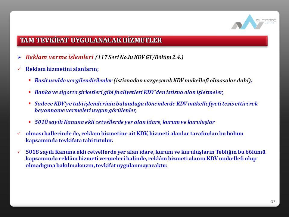  Reklam verme işlemleri (117 Seri No.lu KDV GT/Bölüm 2.4.)  Reklam hizmetini alanların;  Basit usulde vergilendirilenler (istisnadan vazgeçerek KDV