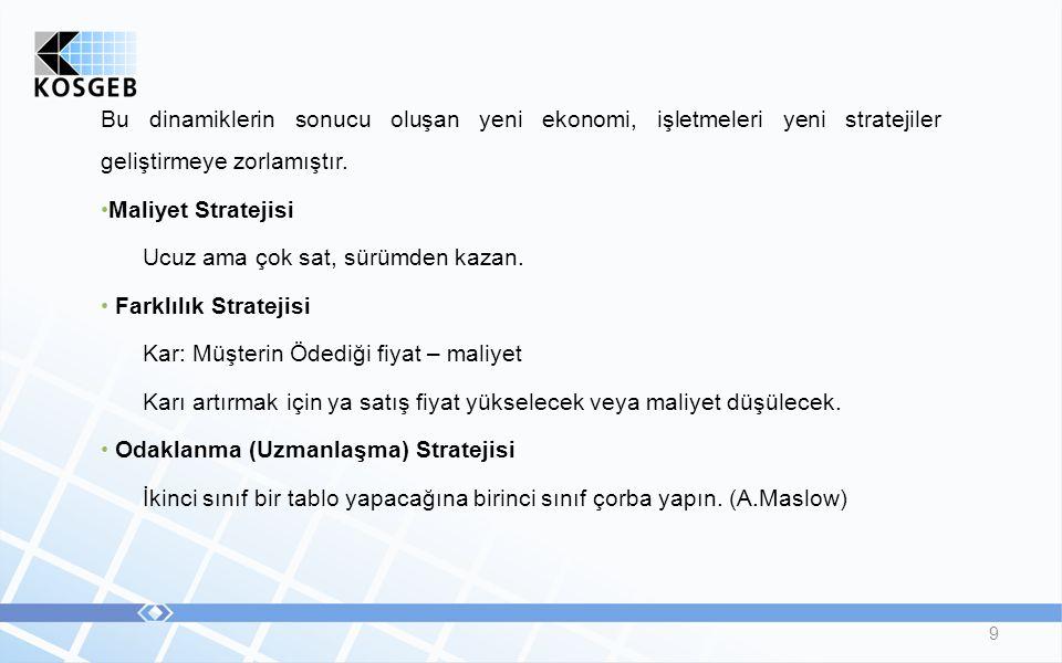 9 Bu dinamiklerin sonucu oluşan yeni ekonomi, işletmeleri yeni stratejiler geliştirmeye zorlamıştır.