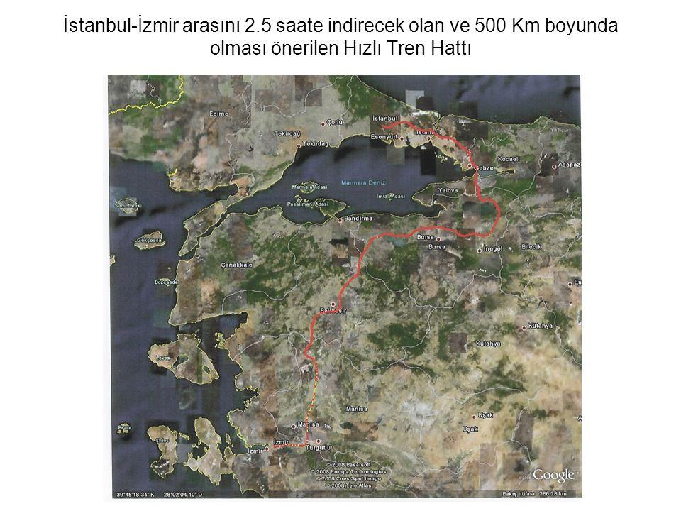 İstanbul-İzmir arasını 2.5 saate indirecek olan ve 500 Km boyunda olması önerilen Hızlı Tren Hattı