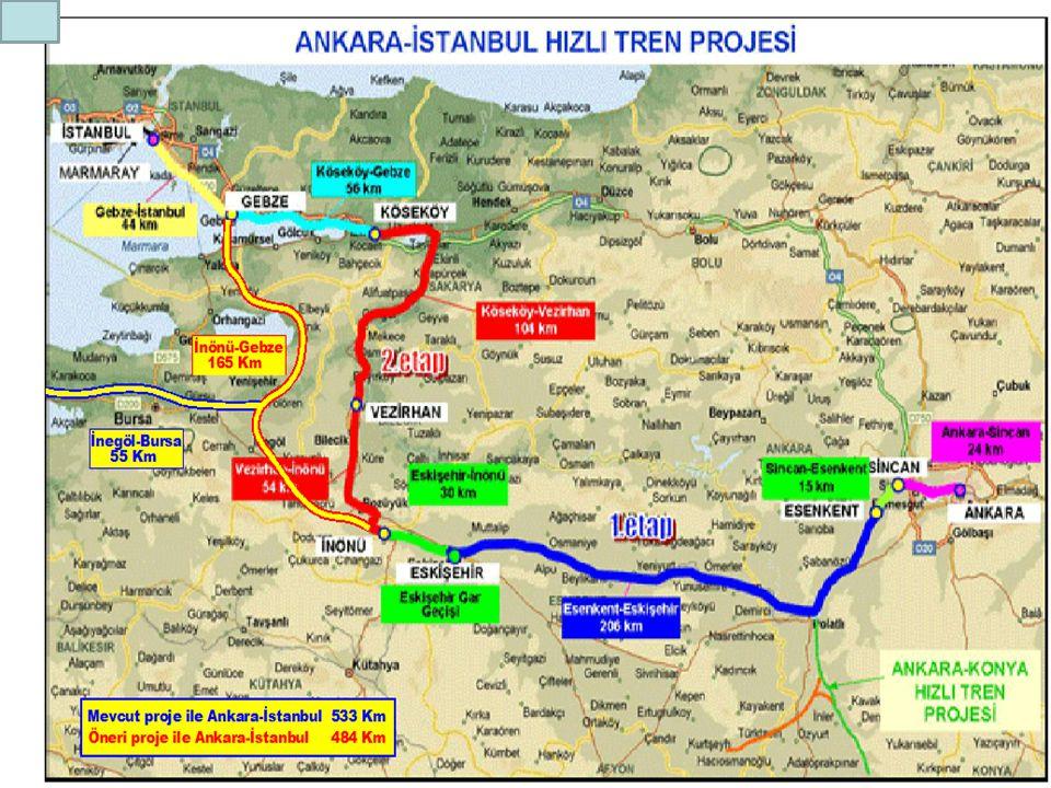 İstanbul - Ankara karayolu 435 km. civarında olup; tamamı otoyol olan bu mesafeyi 4 saatte almak mümkün olacaktır. İstanbul - Ankara arasına yapılmakt