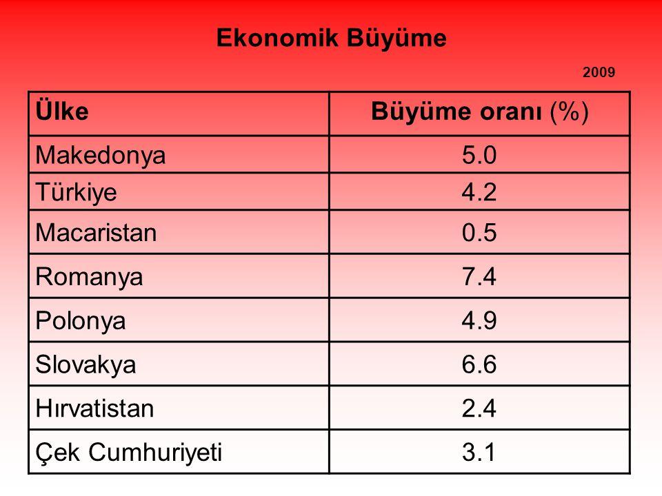 Ekonomik Büyüme 2009 ÜlkeBüyüme oranı (%) Makedonya5.0 Türkiye4.2 Macaristan0.5 Romanya7.4 Polonya4.9 Slovakya6.6 Hırvatistan2.4 Çek Cumhuriyeti3.1