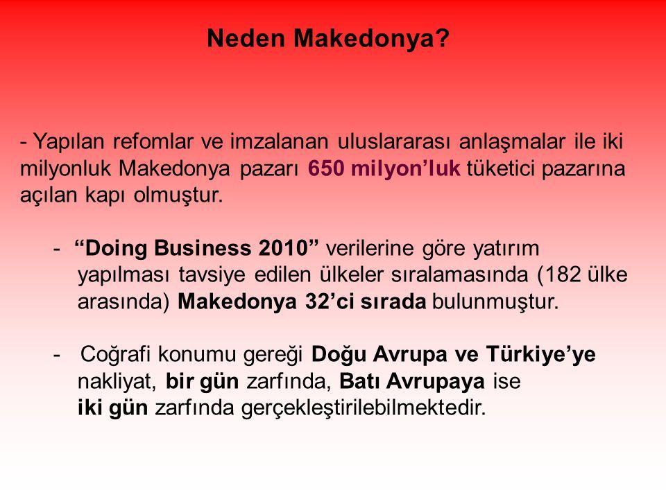 - Yapılan refomlar ve imzalanan uluslararası anlaşmalar ile iki milyonluk Makedonya pazarı 650 milyon'luk tüketici pazarına açılan kapı olmuştur.