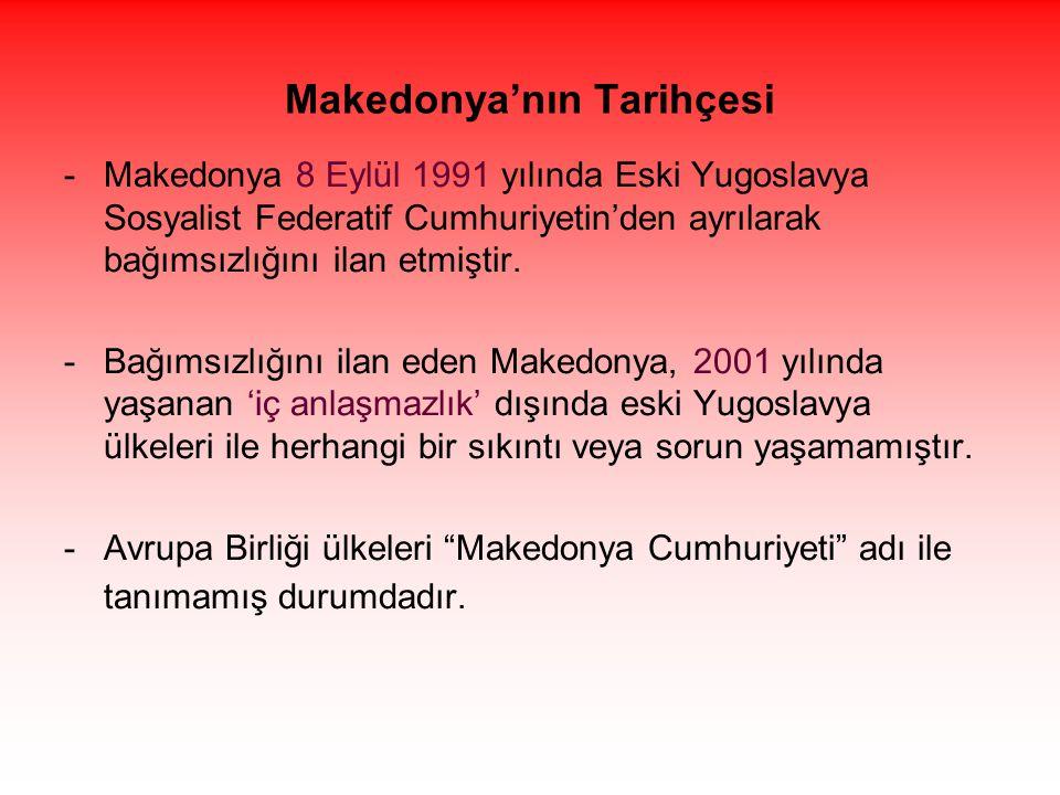Makedonya'nın Tarihçesi -Makedonya 8 Eylül 1991 yılında Eski Yugoslavya Sosyalist Federatif Cumhuriyetin'den ayrılarak bağımsızlığını ilan etmiştir. -