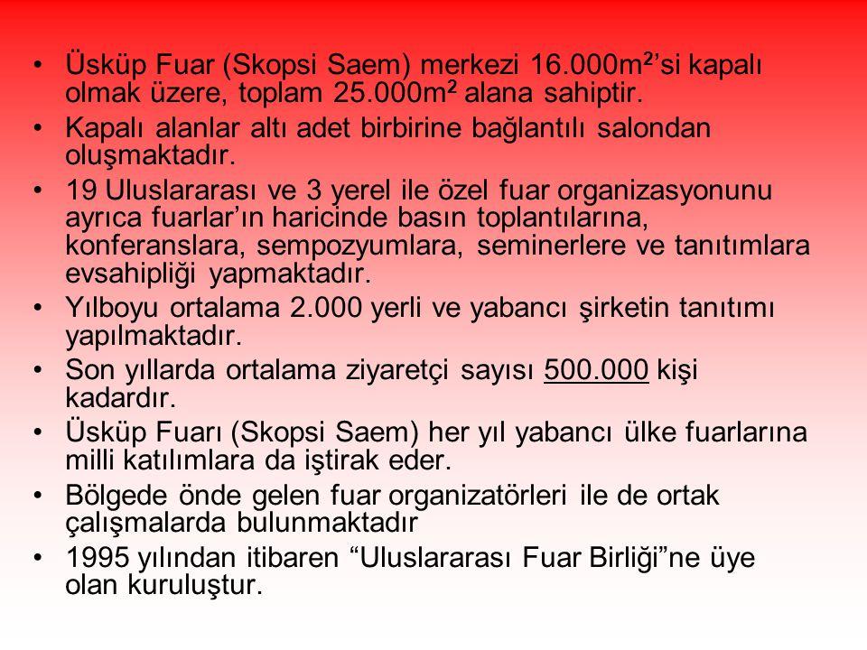 •Üsküp Fuar (Skopsi Saem) merkezi 16.000m 2 'si kapalı olmak üzere, toplam 25.000m 2 alana sahiptir. •Kapalı alanlar altı adet birbirine bağlantılı sa
