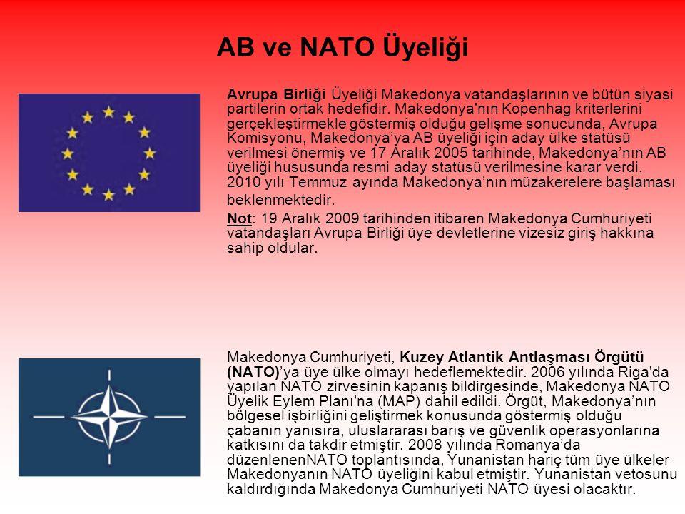AB ve NATO Üyeliği Avrupa Birliği Üyeliği Makedonya vatandaşlarının ve bütün siyasi partilerin ortak hedefidir.