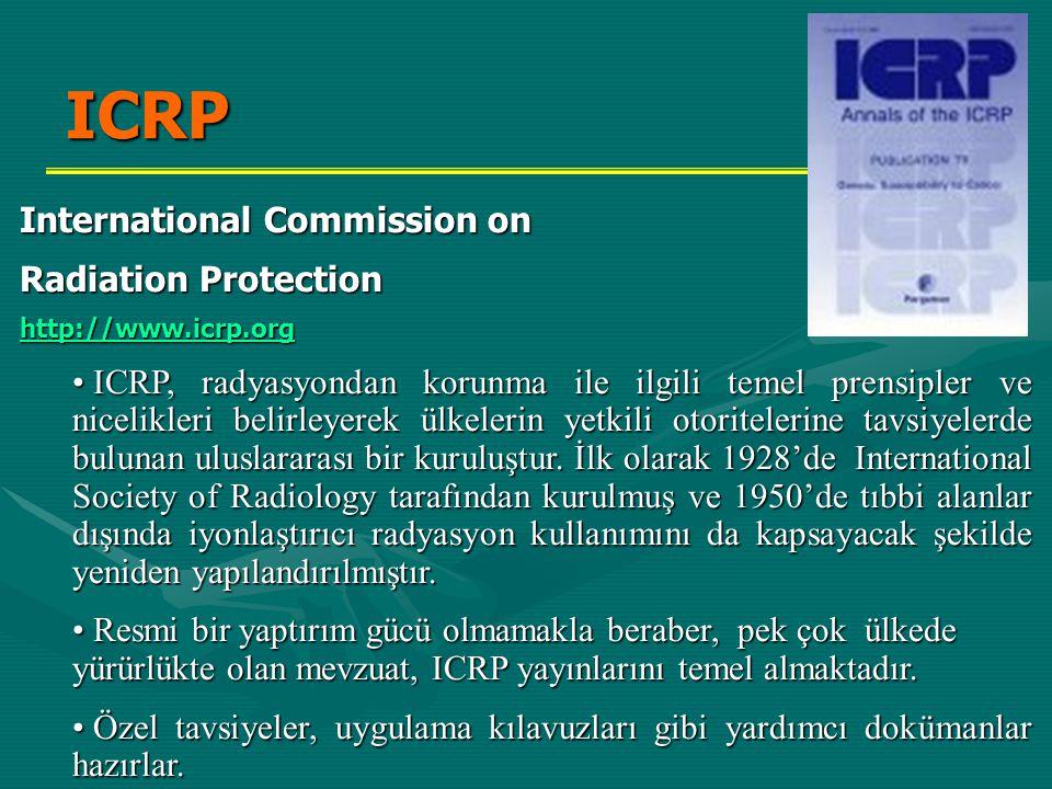 ICRP International Commission on Radiation Protection http://www.icrp.org • ICRP, radyasyondan korunma ile ilgili temel prensipler ve nicelikleri beli