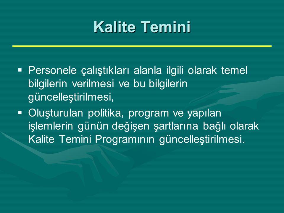 Kalite Temini   Personele çalıştıkları alanla ilgili olarak temel bilgilerin verilmesi ve bu bilgilerin güncelleştirilmesi,   Oluşturulan politika