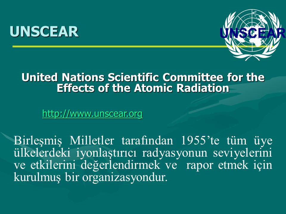 United Nations Scientific Committee for the Effects of the Atomic Radiation http://www.unscear.org Birleşmiş Milletler tarafından 1955'te tüm üye ülke