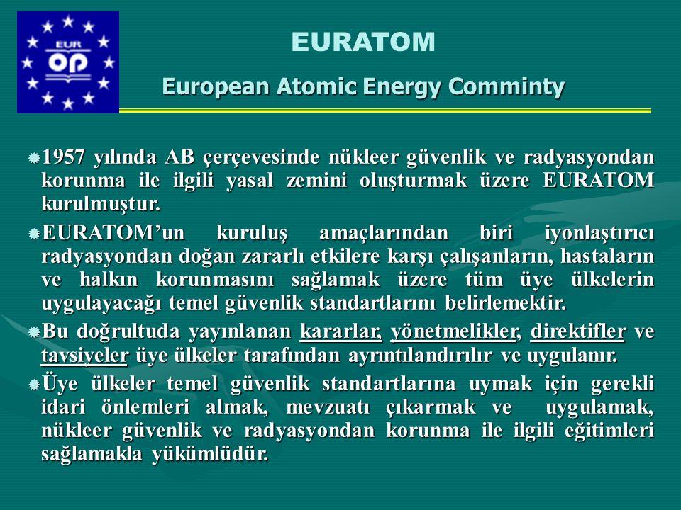  1957 yılında AB çerçevesinde nükleer güvenlik ve radyasyondan korunma ile ilgili yasal zemini oluşturmak üzere EURATOM kurulmuştur.  EURATOM'un kur