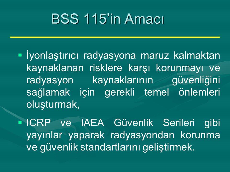 BSS 115'in Amacı BSS 115'in Amacı   İyonlaştırıcı radyasyona maruz kalmaktan kaynaklanan risklere karşı korunmayı ve radyasyon kaynaklarının güvenli
