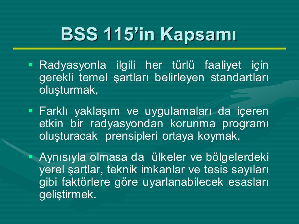 BSS 115'in Kapsamı   Radyasyonla ilgili her türlü faaliyet için gerekli temel şartları belirleyen standartları oluşturmak,   Farklı yaklaşım ve uy