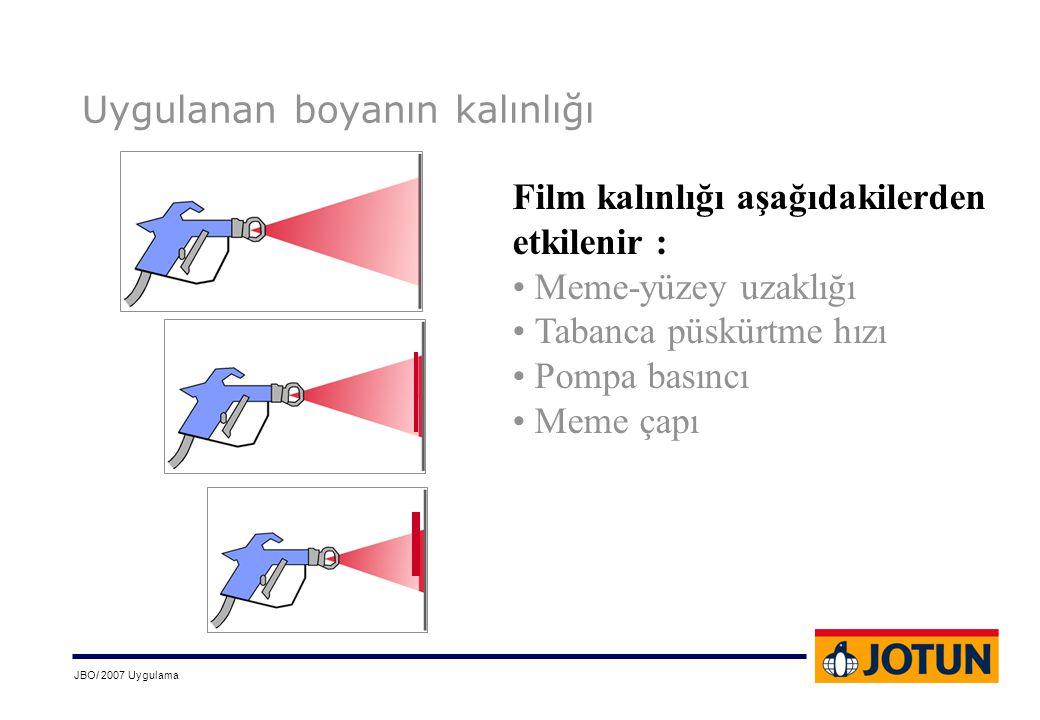 JBO/ 2007 Uygulama Uygulanan boyanın kalınlığı Film kalınlığı aşağıdakilerden etkilenir : • Meme-yüzey uzaklığı • Tabanca püskürtme hızı • Pompa basın