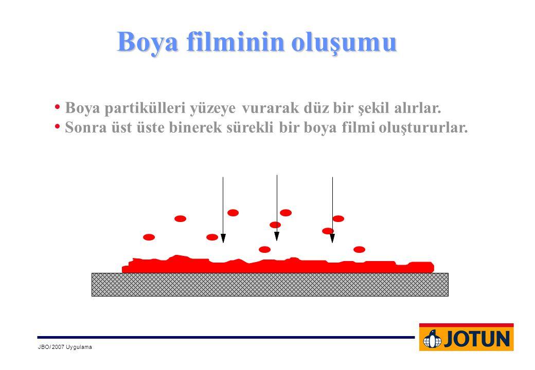 JBO/ 2007 Uygulama • Boya partikülleri yüzeye vurarak düz bir şekil alırlar. • Sonra üst üste binerek sürekli bir boya filmi oluştururlar. Boya filmin